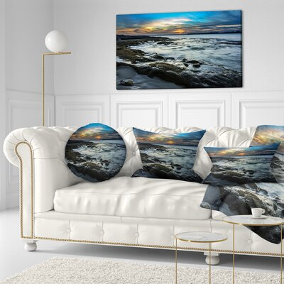 Fascinating Sunset at Australia Coastline Seashore Throw Pillow Size: 16 x 16