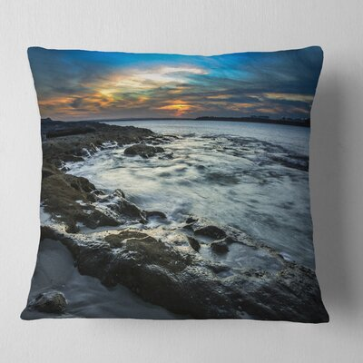Fascinating Sunset at Australia Coastline Seashore Pillow Size: 26 x 26, Product Type: Euro Pillow