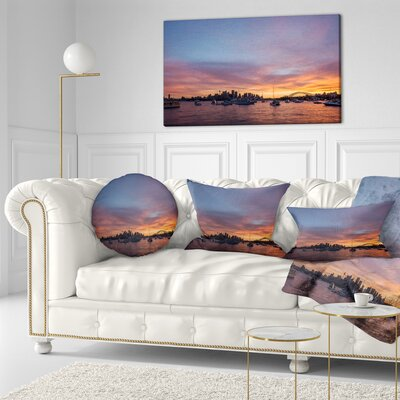 Ferry in Sydney Harbor at Sunset Landscape Printed Throw Pillow Size: 16 x 16