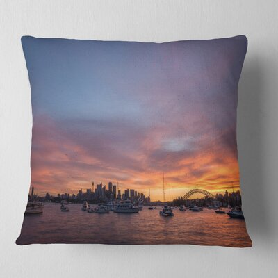 Ferry in Sydney Harbor at Sunset Landscape Printed Pillow Size: 16 x 16, Product Type: Throw Pillow