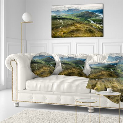 Fields and Hills in New Zealand Landscape Photography Throw Pillow Size: 20  x 20
