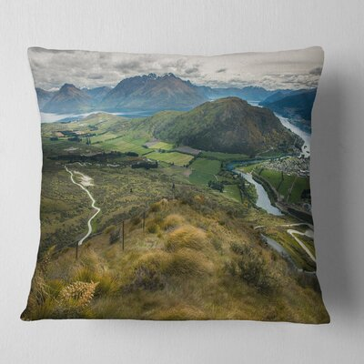 Fields and Hills in New Zealand Landscape Photography Pillow Size: 26 x 26, Product Type: Euro Pillow
