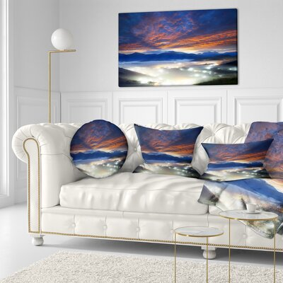 Fiery Clouds and Lit up Villages Landscape Photo Throw Pillow Size: 16 x 16