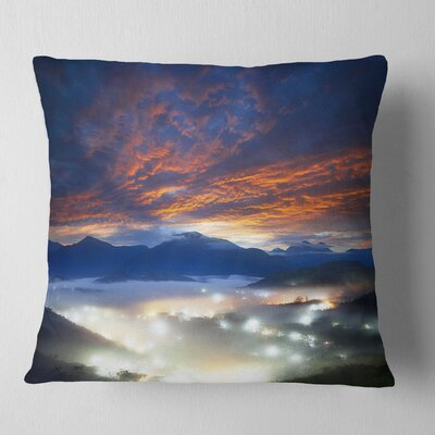 Fiery Clouds and Lit up Villages Landscape Photo Pillow Size: 16 x 16, Product Type: Throw Pillow