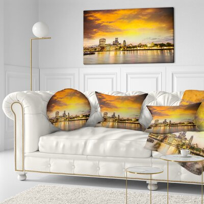 Financial District of London at Twilight Cityscape Throw Pillow Size: 16 x 16