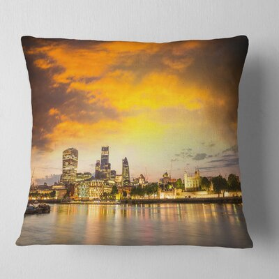 Financial District of London at Twilight Cityscape Pillow Size: 26 x 26, Product Type: Euro Pillow