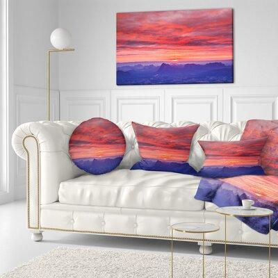 First Light Morning Sunrise Skyline Photography Throw Pillow Size: 20  x 20