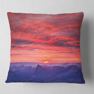 First Light Morning Sunrise Skyline Photography Pillow Size: 18 x 18, Product Type: Throw Pillow