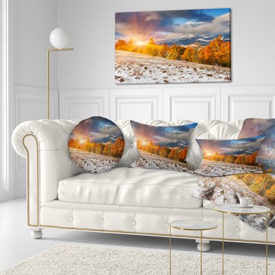 First Snow in Carpathian Mountains Landscape Photography Throw Pillow Size: 16 x 16