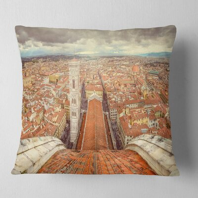 Florence View from Duomo Cathedral Cityscape Pillow Size: 26 x 26, Product Type: Euro Pillow