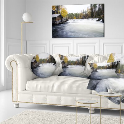 Flowing River and Aged Watermill Landscape Photography Throw Pillow Size: 20 x 20