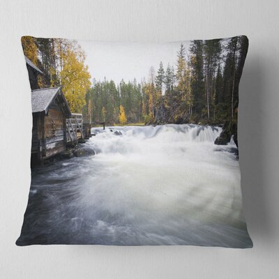 Flowing River and Aged Watermill Landscape Photography Pillow Size: 16 x 16, Product Type: Throw Pillow