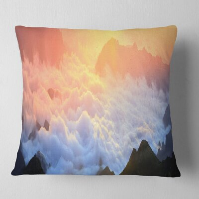 Foggy Carpathian Hills Panorama Landscape Photography Pillow Size: 26 x 26, Product Type: Euro Pillow