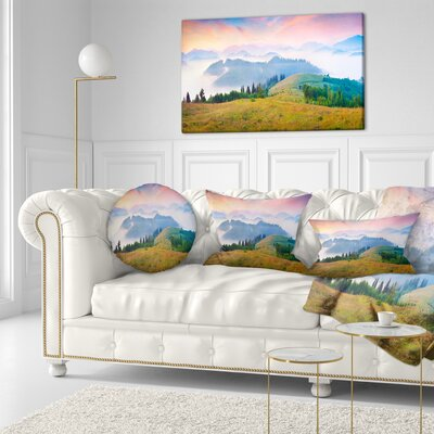 Foggy Carpathian Panorama Landscape Photo Throw Pillow Size: 20 x 20