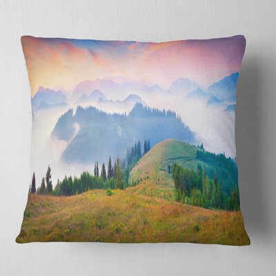 Foggy Carpathian Panorama Landscape Photo Pillow Size: 18 x 18, Product Type: Throw Pillow