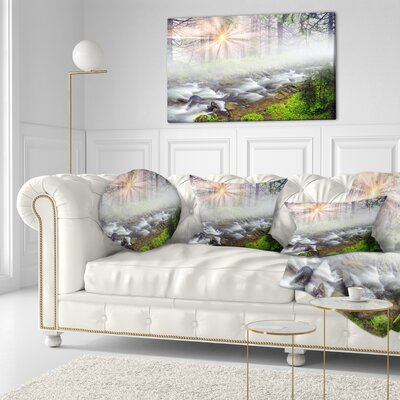 Foggy Carpathian with Sunlight Landscape Photography Throw Pillow Size: 16 x 16