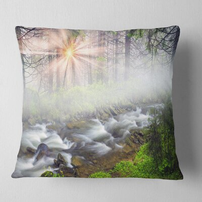 Foggy Carpathian with Sunlight Landscape Photography Pillow Size: 26 x 26, Product Type: Euro Pillow