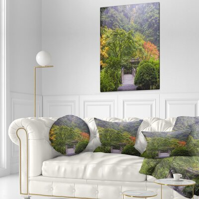 Foggy Dawn in Japanese Garden Landscape Photography Throw Pillow Size: 20 x 20