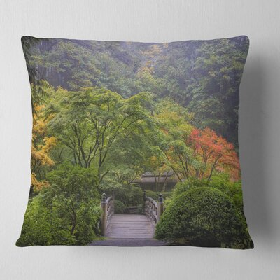 Foggy Dawn in Japanese Garden Landscape Photography Pillow Size: 18 x 18, Product Type: Throw Pillow