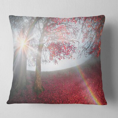 Foggy Forest After Heavy Storm Landscape Photography Pillow Size: 16 x 16, Product Type: Throw Pillow