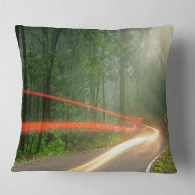 Foggy Morning with Sun Rays Landscape Photo Pillow Size: 16 x 16, Product Type: Throw Pillow