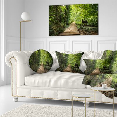 Forest Way to Emerald Pool Landscape Photo Throw Pillow Size: 20 x 20