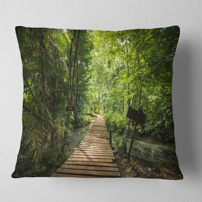 Forest Way to Emerald Pool Landscape Photo Pillow Size: 18 x 18, Product Type: Throw Pillow