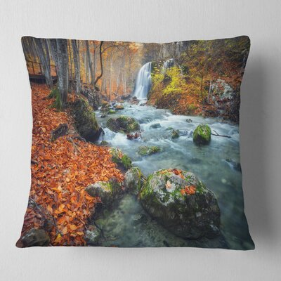Forest Leaves Landscape Photography Pillow Size: 18 x 18, Product Type: Throw Pillow