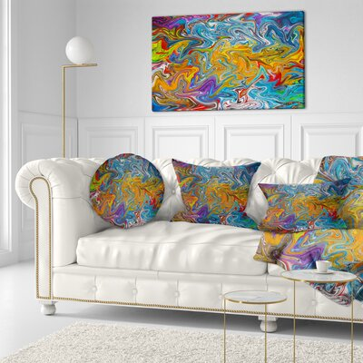 Fractal Flowing Contemporary Throw Pillow Size: 16 x 16