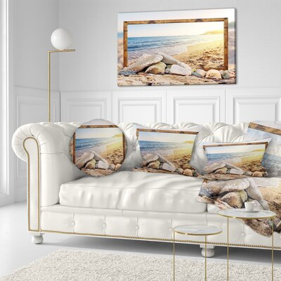 Framed Effect Beach Rocks Seashore Throw Pillow Size: 16 x 16