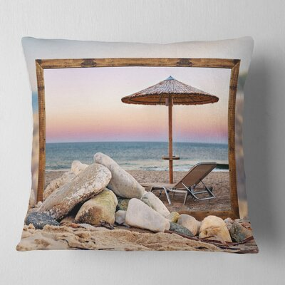 Framed Effect Beach Seating Seashore Pillow Size: 16