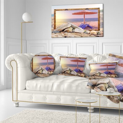 Framed Effect Beach Sunset Seashore Throw Pillow Size: 20 x 20