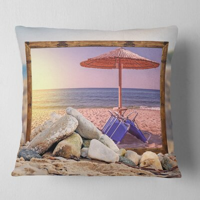 Framed Effect Beach Sunset Seashore Pillow Size: 18 x 18, Product Type: Throw Pillow