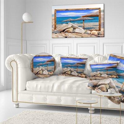 Framed Effect Beach Umbrellas Seashore Throw Pillow Size: 20 x 20