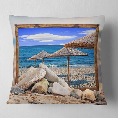 Framed Effect Beach Umbrellas Seashore Pillow Size: 16 x 16, Product Type: Throw Pillow