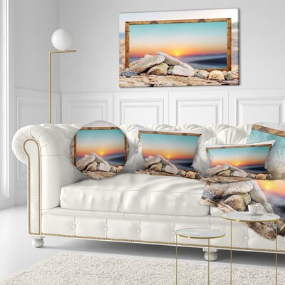 Framed Effect Blurred Beach Seashore Throw Pillow Size: 16 x 16