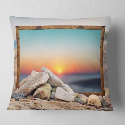 Framed Effect Blurred Beach Seashore Pillow Size: 18 x 18, Product Type: Throw Pillow