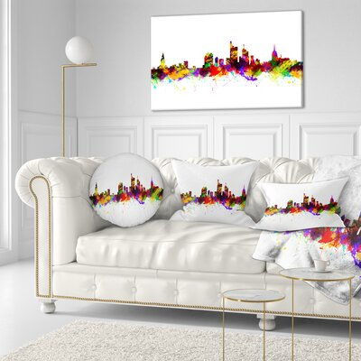 Frankfurt Germany Skyline Cityscape Throw Pillow Size: 20 x 20