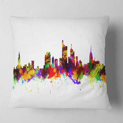 Frankfurt Germany Skyline Cityscape Pillow Size: 16 x 16, Product Type: Throw Pillow