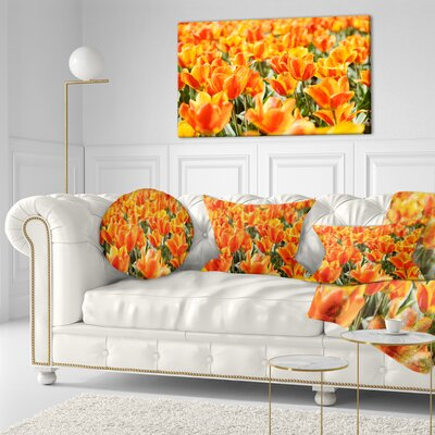Fresh Tulip Flowers on Sunny Day Floral Throw Pillow Size: 16 x 16