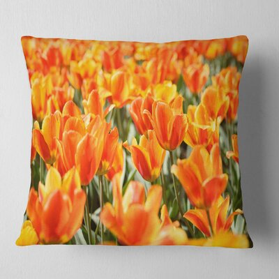 Fresh Tulip Flowers on Sunny Day Floral Pillow Size: 16 x 16, Product Type: Throw Pillow