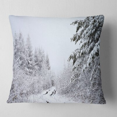 Frosted Forest Trail in Fall Landscape Photo Pillow Size: 18 x 18, Product Type: Throw Pillow