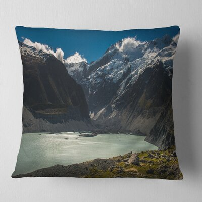 Frosty Mountains over Lake Landscape Printed Pillow Size: 16 x 16, Product Type: Throw Pillow