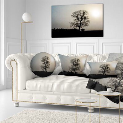 Frosty Spring Morning Sunrise with Tree Landscape Printed Throw Pillow Size: 16 x 16