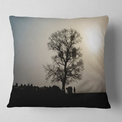 Frosty Spring Morning Sunrise with Tree Landscape Printed Pillow Size: 16 x 16, Product Type: Throw Pillow