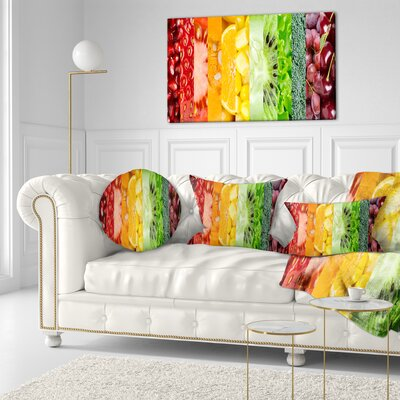 Fruits Berries and Vegie Collage Floral Throw Pillow Size: 16 x 16