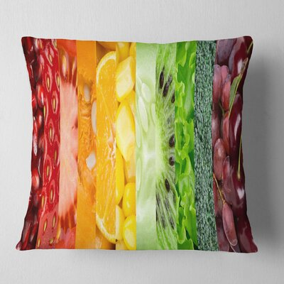 Fruits Berries and Vegie Collage Floral Pillow Size: 16 x 16, Product Type: Throw Pillow