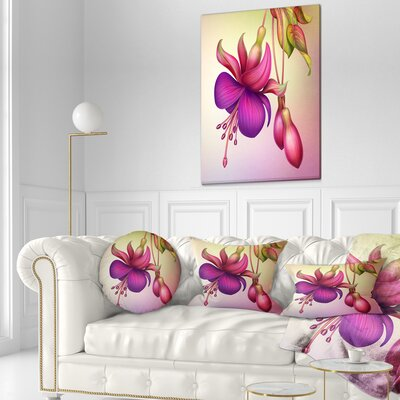 Fuchsia Flowers with Leaves Floral Throw Pillow Size: 16 x 16