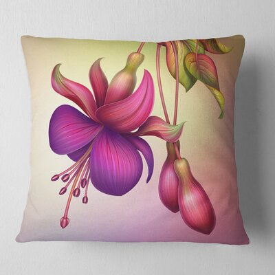 Fuchsia Flowers with Leaves Floral Pillow Size: 18 x 18, Product Type: Throw Pillow