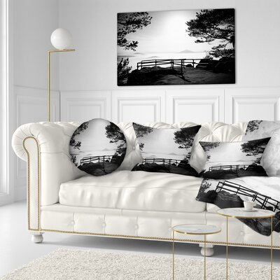 Full Moon Autumn Midnight in Black Landscape Photography Throw Pillow Size: 20 x 20